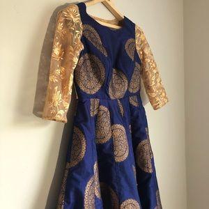 Blue Asymmetric Indian Dress